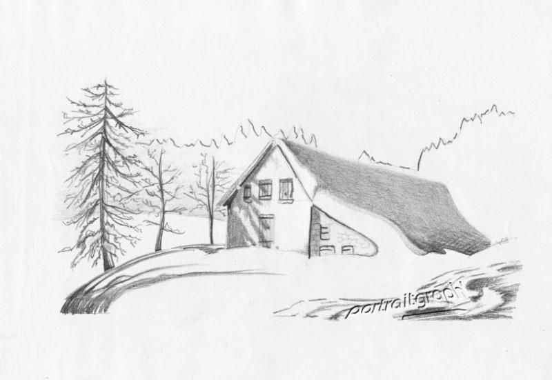 Portraitgraph portraits dessins chal t d alpage - Dessin de chalet de montagne ...