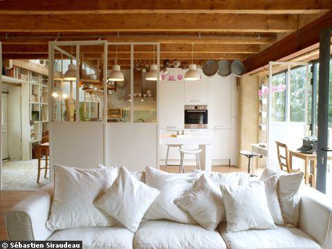 Recherche de couleurs pour un salon - Salon avec cuisine ouverte ...