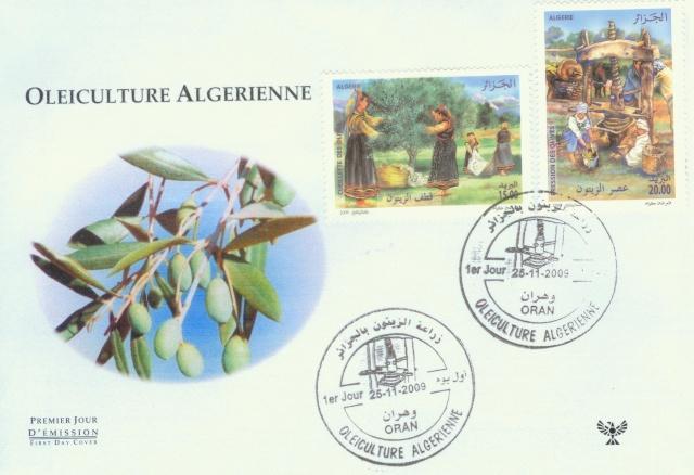 FDC,algerie,philatelie,oleiculture,olivier,enveloppe premier jour