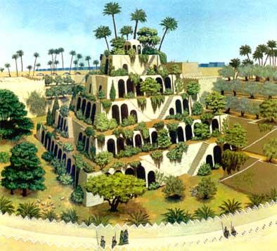 les jardins suspendus de babylone vers 580 merveille du monde antique. Black Bedroom Furniture Sets. Home Design Ideas